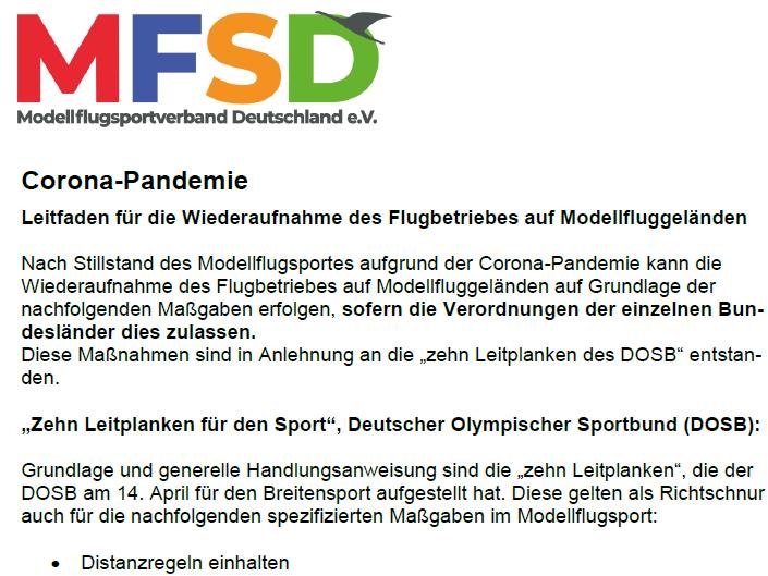 MFSD-Leitfaden für die Wiederaufnahme des Flugbetriebes auf Modellfluggeländen